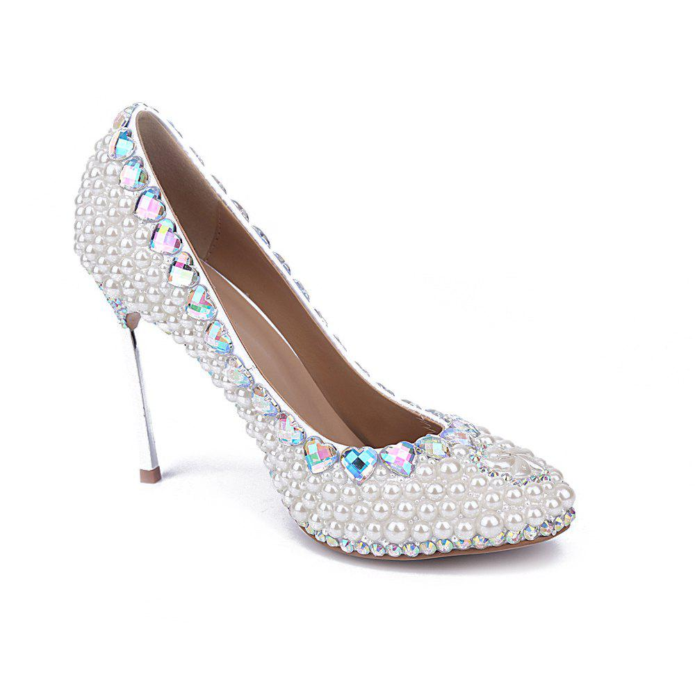 Latest 2018 New Pearl Iron Single Wedding Shoes