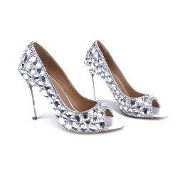 2018 New Glass Drill Fish Mouth Iron High Heel Shoes Banquet Shoes -