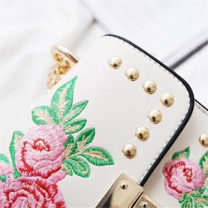 Women Embroidery Flower Shoulder Bag Designer PU Leather Fashion Ladies Rivet Messenger Bags -