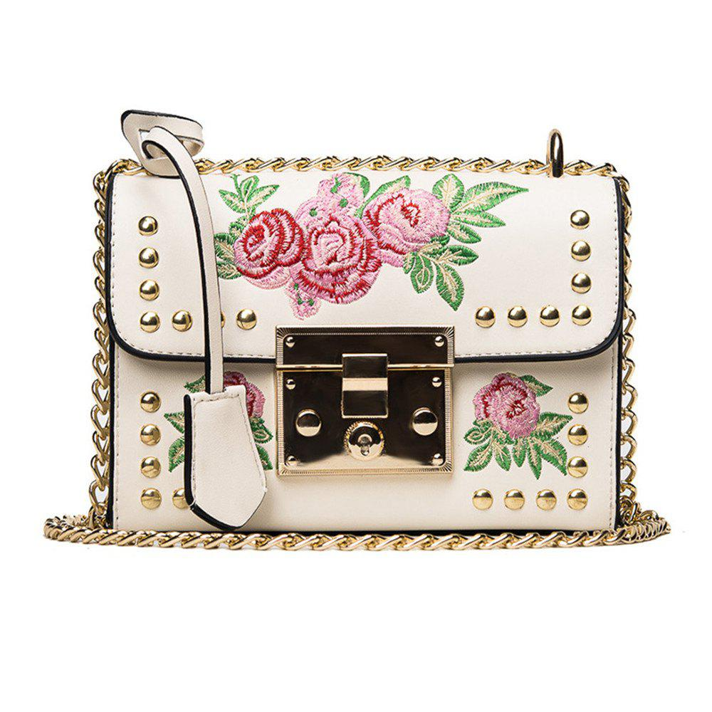Store Women Embroidery Flower Shoulder Bag Designer PU Leather Fashion Ladies Rivet Messenger Bags