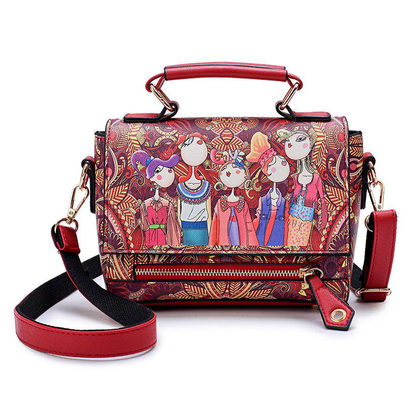 ba65c7a27093 Unique Fashion Women PU Leather Printing Messenger Bag Ladies Handbag Small Shoulder  Bags