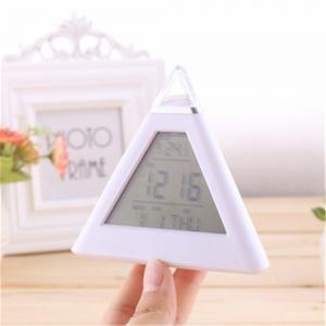 7 LED Change Colors Pyramid LCD Digital Snooze Alarm Clock Time Data Week Temperature Thermometer -
