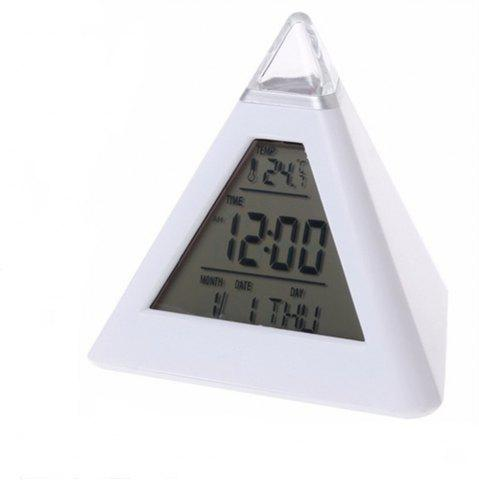 Trendy 7 LED Change Colors Pyramid LCD Digital Snooze Alarm Clock Time Data Week Temperature Thermometer