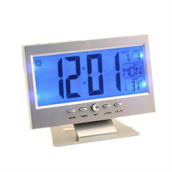 Acoustic Sensing Background Light Calendar Clock Temperature Meter -