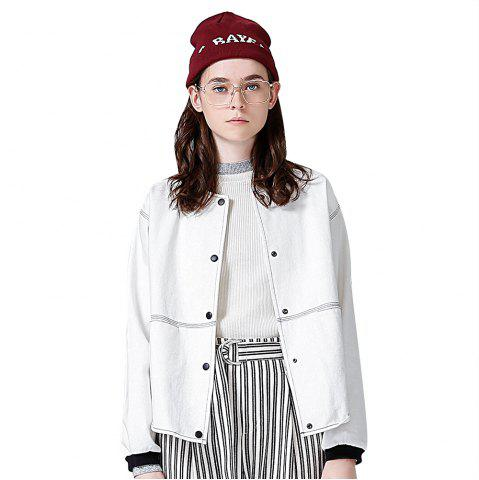 Unique Toyouth Loose Stand Collar Baseball Coat White Printing Jackets