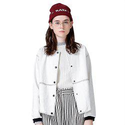Toyouth Loose Stand Collar Baseball Coat White Printing Jackets -