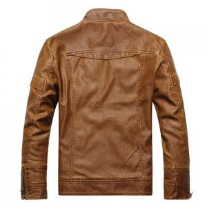 Men's Autumn and Winter Collar Motorcycle Leather Jacket -