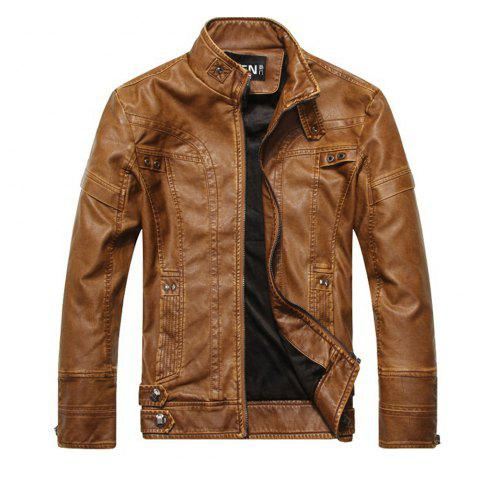 Cheap Men's Autumn and Winter Collar Motorcycle Leather Jacket
