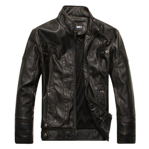 Online Men's Autumn and Winter Collar Motorcycle Leather Jacket