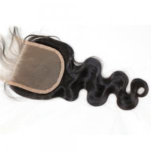 Body Wave Natural Color Peruvian Human Hair Lace Closure Bleached Knots 3pcs -