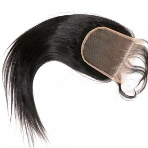Straight Bleached Knots Natural Color Peruvian Human Virgin Hair Lace Closure 1pc -