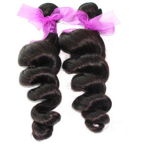 Chic Loose Wave Natural Color Peruvian Human Virgin Hair Weave 2pcs