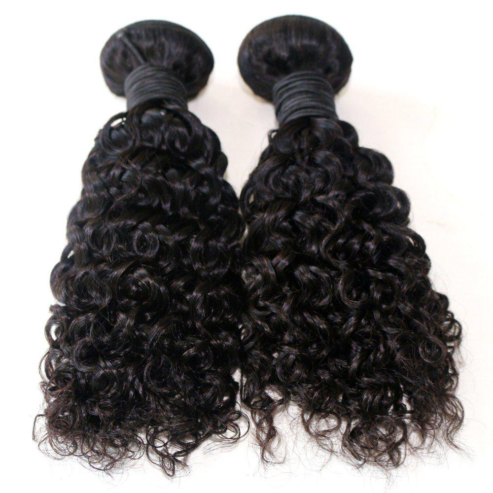 Fashion Jerry Curly Natural Color 100 Percent Brazilian Virgin Hair Weave 2pcs