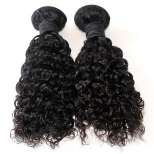 Jerry Curly Natural Color 100 Percent Brazilian Human Virgin Hair Weave 3pcs -