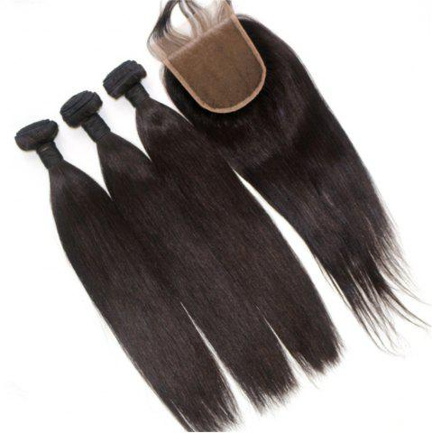 Cheap Silky Straight Natural Color Brazilian Human Virgin Hair Weave 3pcs with One Piece Lace Closure