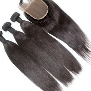 Silky Straight Natural Color 100 Percent Brazilian Virgin Hair Weave 4pcs with One Piece Lace Closure -