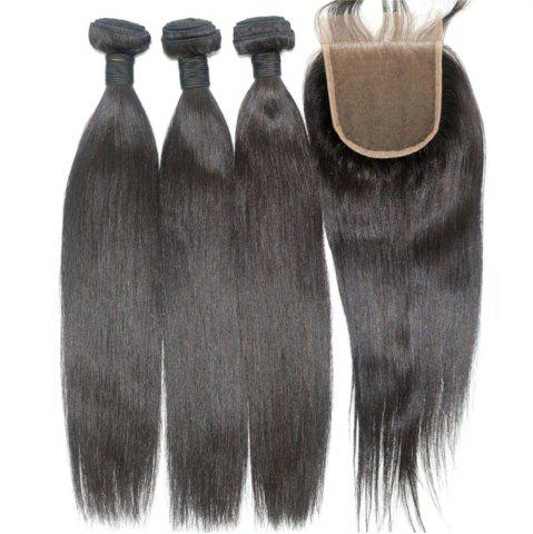Chic Silky Straight Natural Color 100 Percent Brazilian Virgin Hair Weave 4pcs with One Piece Lace Closure