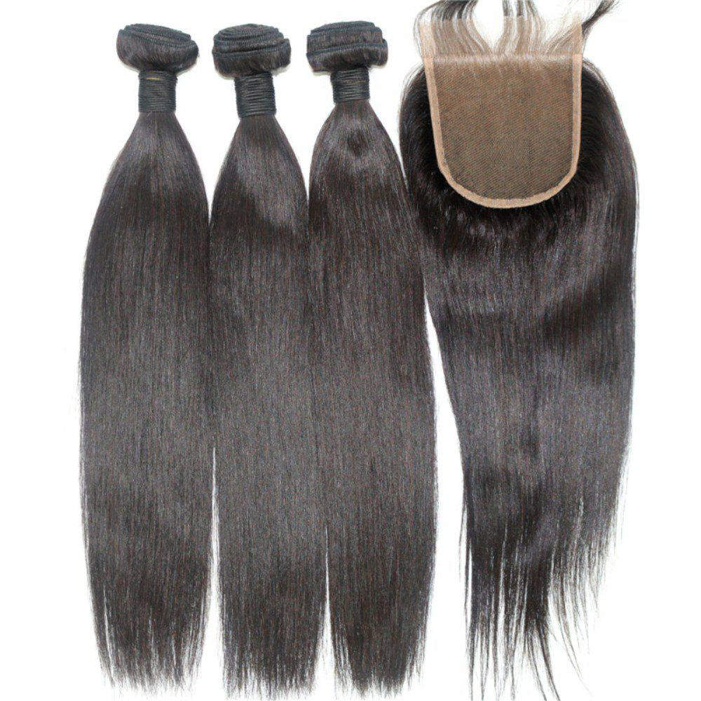 Sale Silky Straight Natural Color 100 Percent Brazilian Virgin Hair Weave 4pcs with One Piece Lace Closure