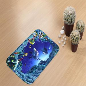 Undersea Bath Mat Rug Super Soft Non-Slip Machine Washable Quickly Drying Antibacterial for Kitchen -