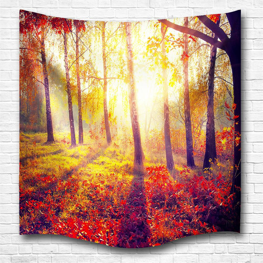 Trendy Morning Woods 3D Digital Printing Home Wall Hanging Nature Art Fabric Tapestry for Bedroom Living Room Decorations