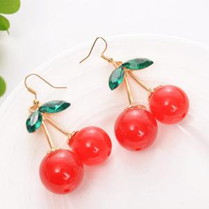 Fashion Red Cherry Shape Female Jewelry Elegant Earrings Gift Girl -