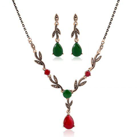 Outfit New Fashion Leaves and Gemstone Pendant Jewelry Set