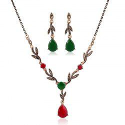 New Fashion Leaves and Gemstone Pendant Jewelry Set -