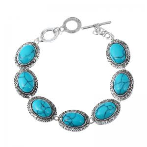 Fashion Three-piece Oval Blue Turquoise Jewelry Set -