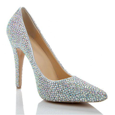 Fancy 2018 New Colorful Drill Tip Sweet Party High-Heeled Shoes