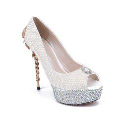 2018 New Pearl Scorpion Fish Mouth Ladies Wedding Shoes -
