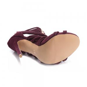 2018 New Wine Red Flannelette Hollowed Out High Heel Sandals -