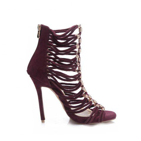 Fancy 2018 New Wine Red Flannelette Hollowed Out High Heel Sandals