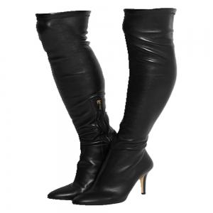 2018 New Black High Heel Elastic Round Head Boots -