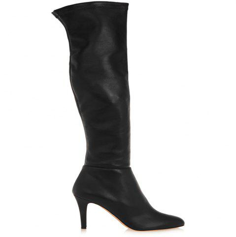 Outfit 2018 New Black High Heel Elastic Round Head Boots