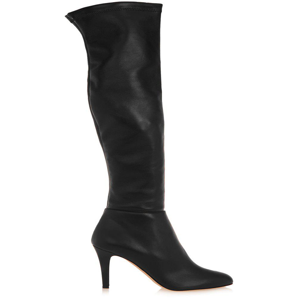 Buy 2018 New Black High Heel Elastic Round Head Boots