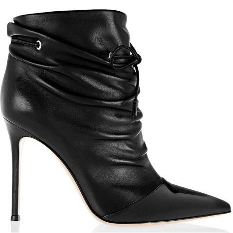 Store 2018 New Fashion Black Elastic Wrinkled Short Boots
