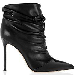 2018 New Fashion Black Elastic Wrinkled Short Boots -