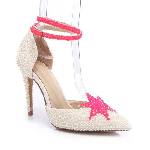 Discount 2018 New Simple White Leather High Heel Single Shoes