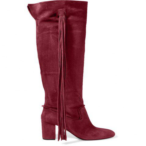 Best 2018 New Fashion Wine Red High Boots