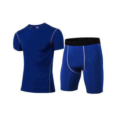 Trendy Men's Fitness Set Sweat-Drying T-Shirt and Shorts Suit