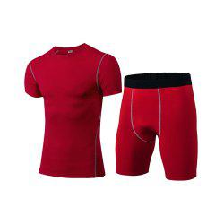 Men's Fitness Set Sweat-Drying T-Shirt and Shorts Suit -