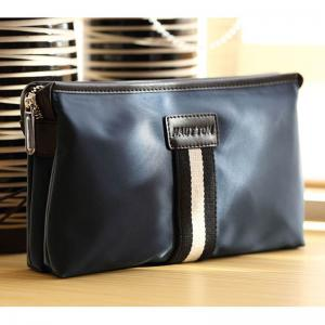 HAUTTON Men Clutch Bag Zipper Wallet Purse Checkbook Document Passpsort Phone Handbag -