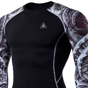 Men's Digital Printing Long-Sleeved Fitness Tattoo Longan Knife Long-Sleeved T-Shirt -