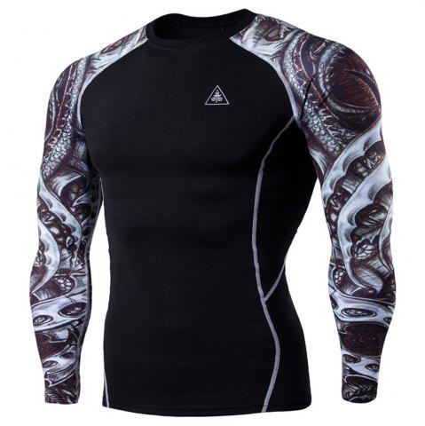 Cheap Men's Digital Printing Long-Sleeved Fitness Tattoo Longan Knife Long-Sleeved T-Shirt