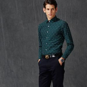 Autumn and Winter Men's Spotted Casual Fashion Blouse Professional Dress Shirt -