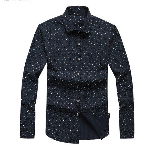 Discount Autumn and Winter Men's Spotted Casual Fashion Blouse Professional Dress Shirt