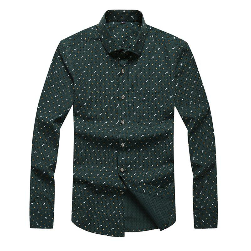 Hot Autumn and Winter Men's Spotted Casual Fashion Blouse Professional Dress Shirt