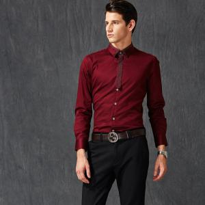 Autumn and Winter Men's Pure Color Leisure Fashion Blouse Professional Dress Shirt -