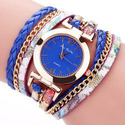 Fanteeda FD092 Women Wrap Around Leather Wrist Watch with Chain -