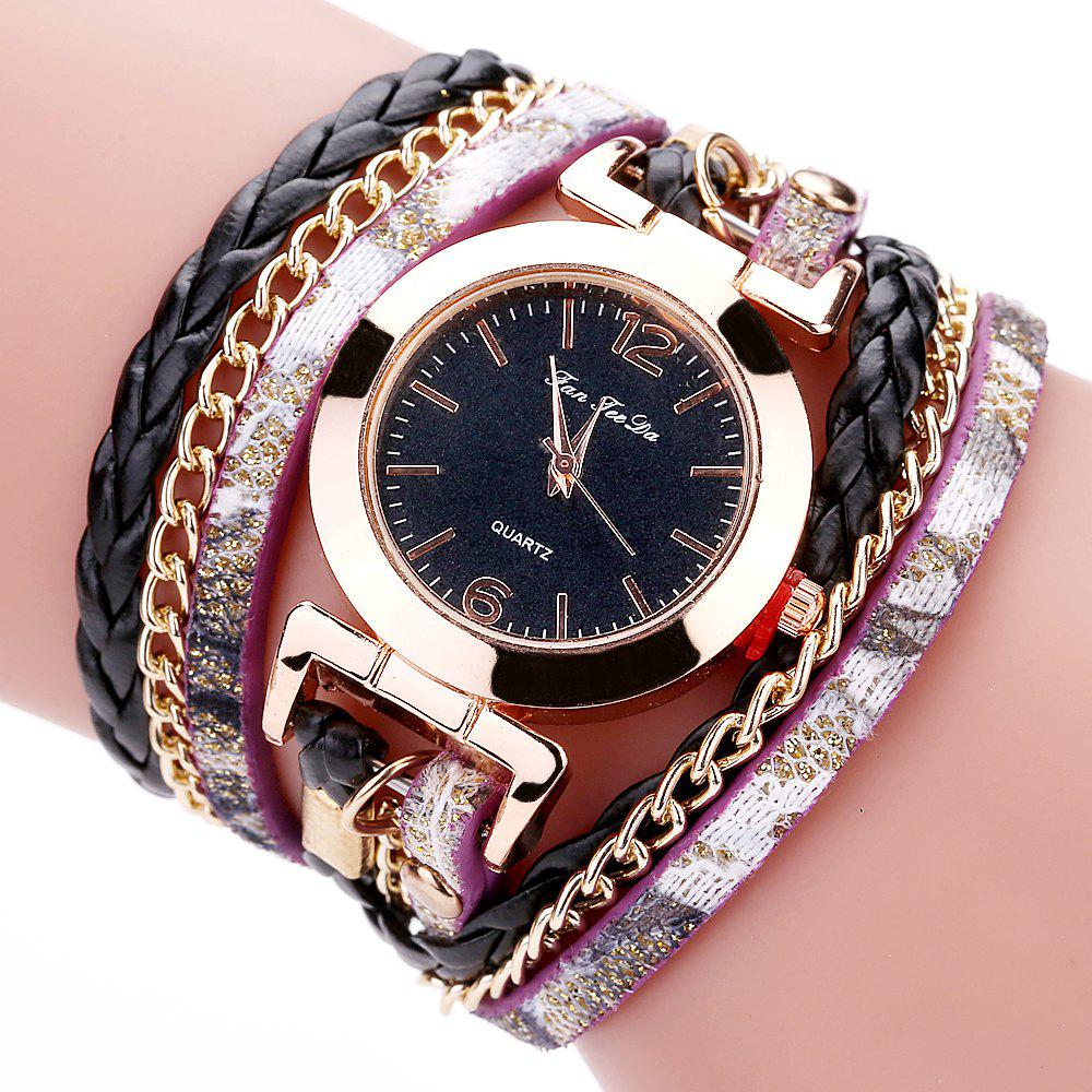 Outfits Fanteeda FD092 Women Wrap Around Leather Wrist Watch with Chain